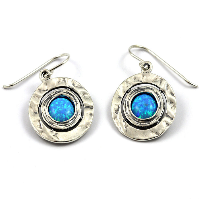 Blue Created Opal Hammered Round Silver Drop Earrings