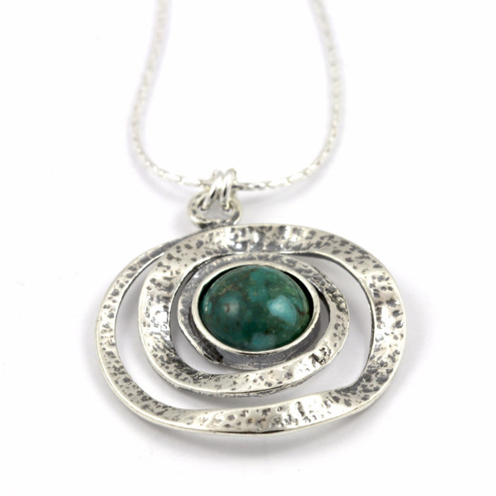 Turquoise Spiral Silver Necklace