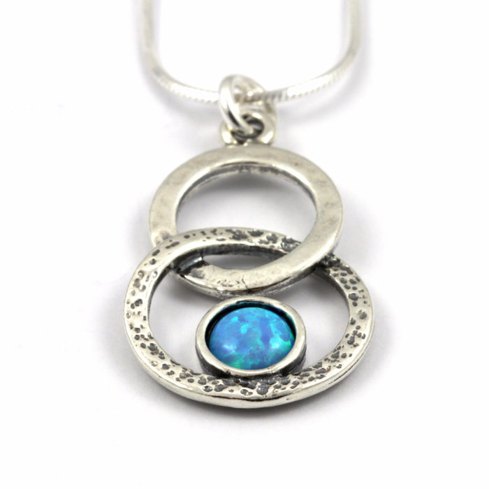 Blue Created Opal Linked Hoop Silver Necklace