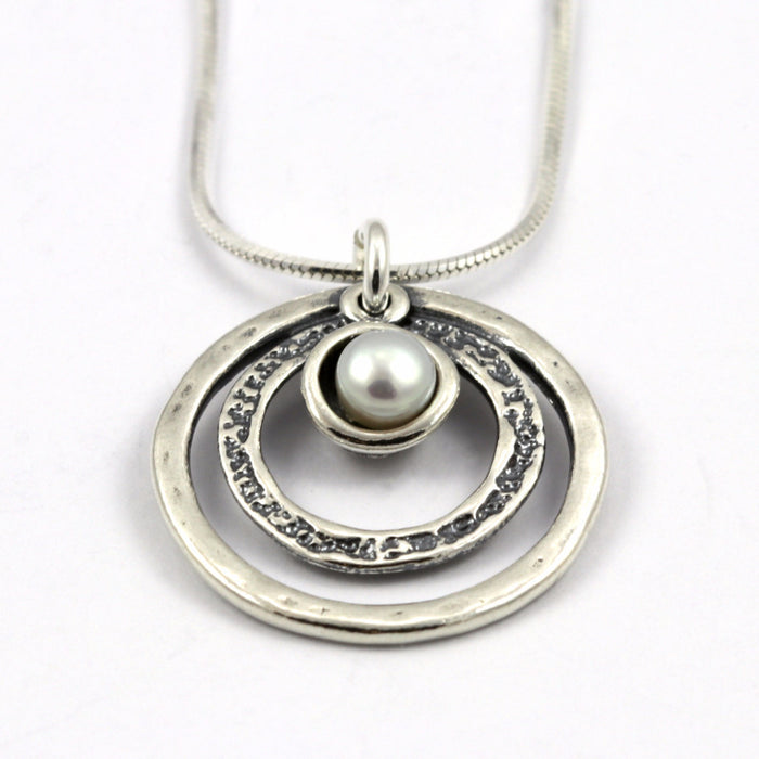 Pearl Two Circle Silver Necklace