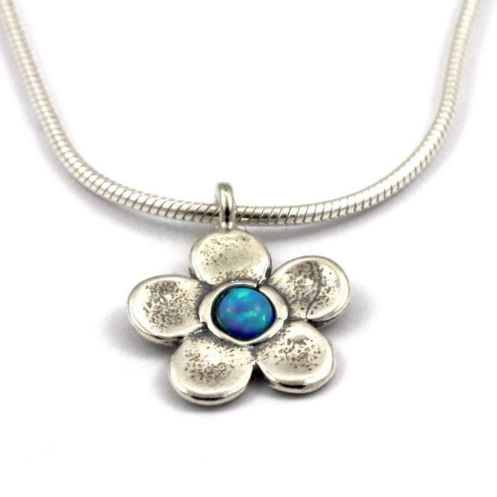 Blue Created Opal Flower Silver Necklace