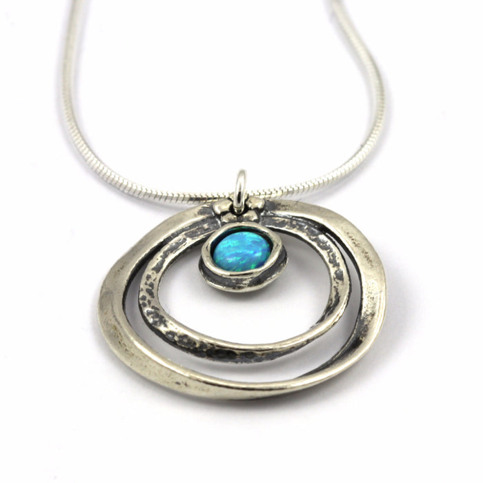Blue Created Opal Silver Necklace