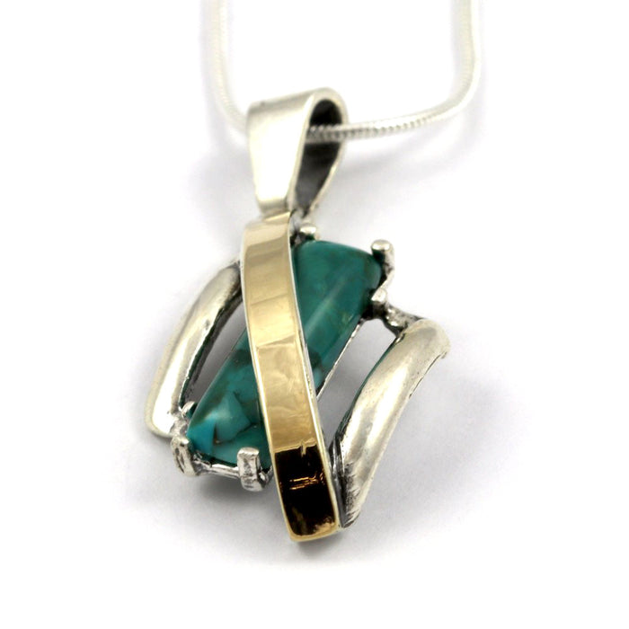 Turquoise Diamond-Shape Gold and Silver Necklace