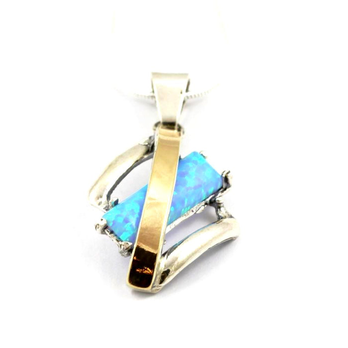 Blue Created Opal Diamond-Shape Gold and Silver Necklace