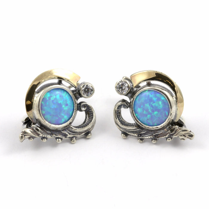 Blue Created Opal Round Gold and Silver Earrings