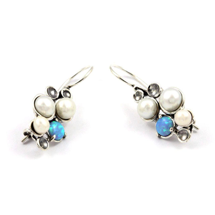 Blue Created Opal and Pearl Silver Earrings