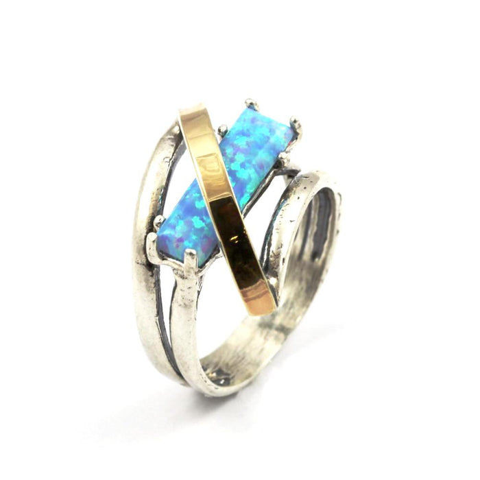 Blue Created Opal Diamond-Shape Gold and Silver Ring