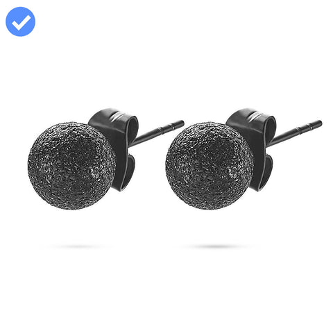 Men's Textured Black Ball Studs