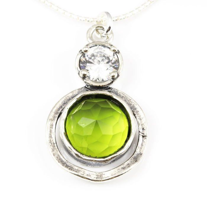 Peridot Double Circle Silver Necklace