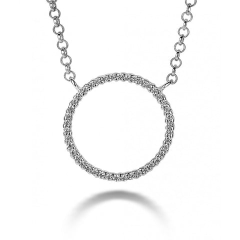 Large Open Circle Necklace made with Premium Zirconia