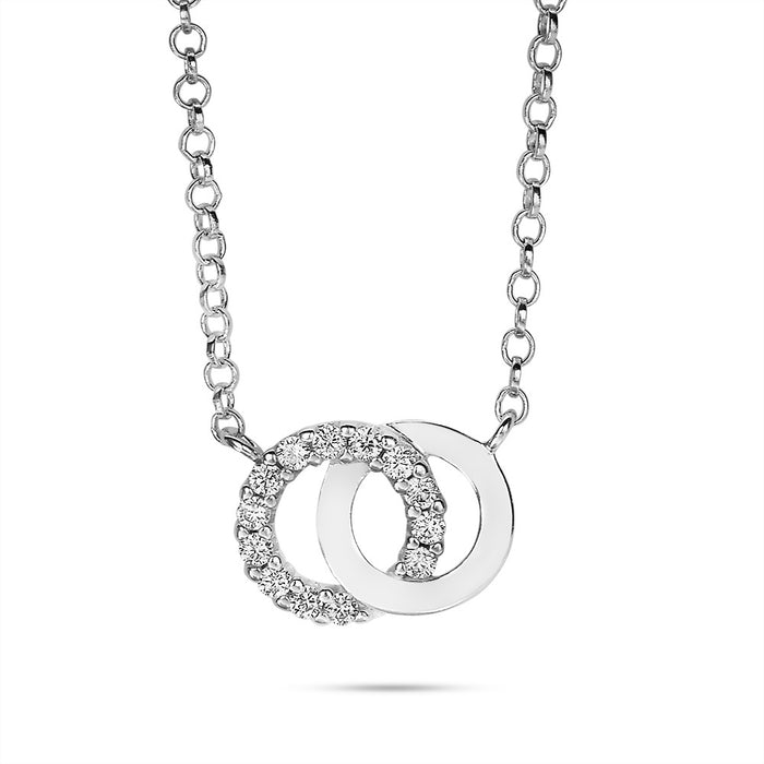 Small Linked Circle Necklace made with Premium Zirconia
