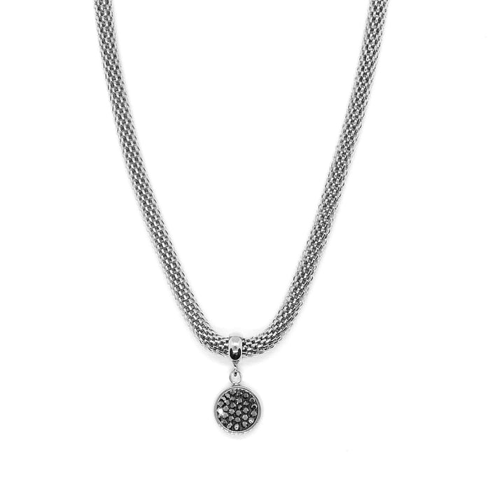 Black Crystal Disc Necklace