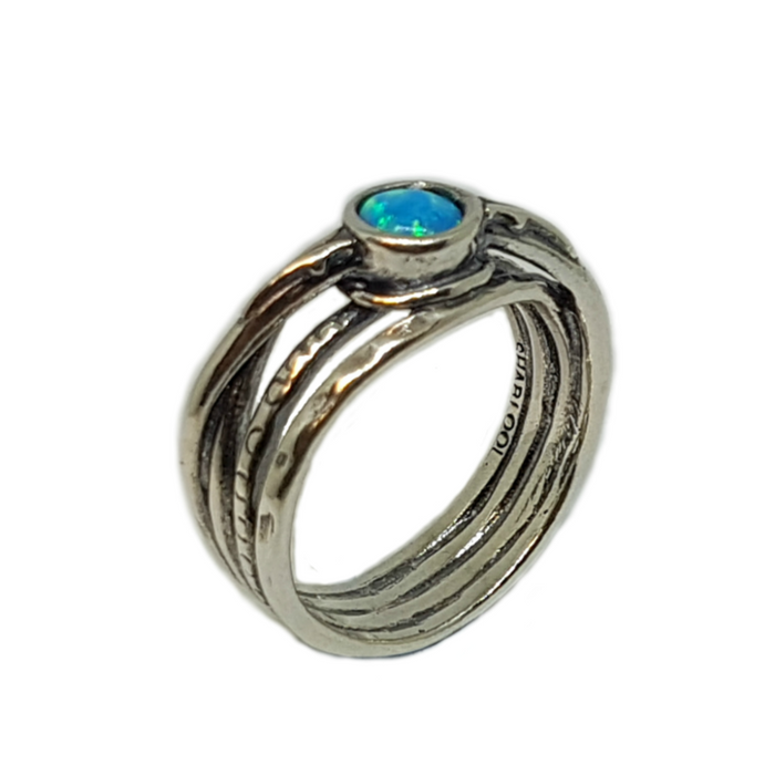 Blue Created Opal Silver Ring with Round Stone