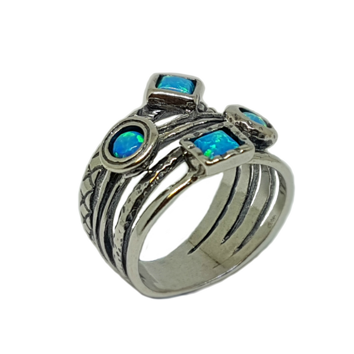 Blue Created Opal Handcrafted Silver Ring with 2 Round and 2 Square Stones