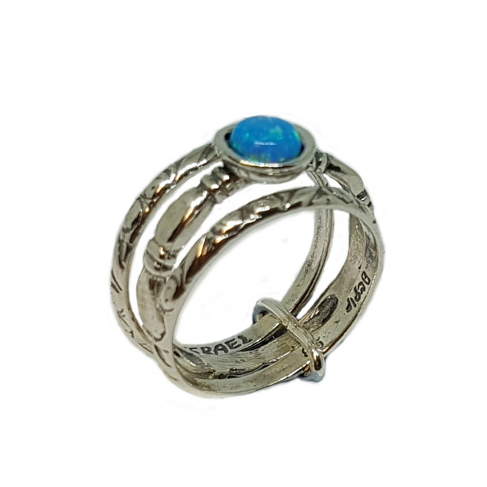 Blue Created Opal Silver Stacking Ring with Round Stone