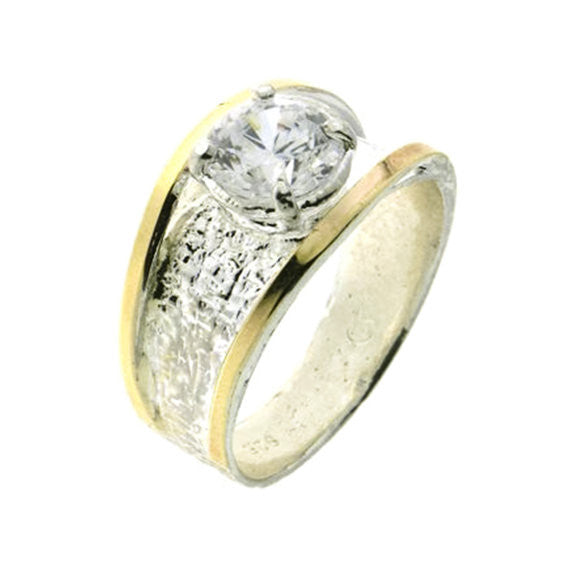 White Zircon Silver and Gold Ring