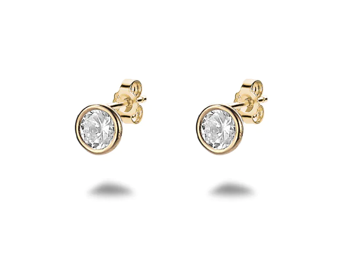 Gold Crystal Solitaire Framed Studs