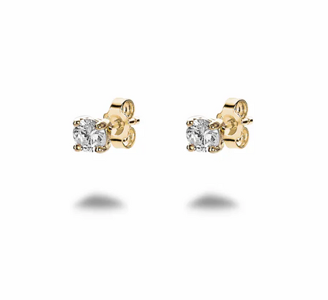 Gold Crystal Solitaire Studs