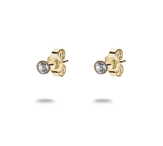 Tiny Gold Crystal Solitaire Studs
