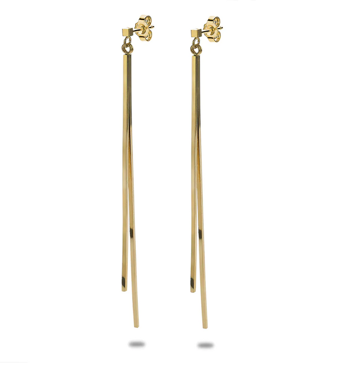 Long Gold Bar Drop Earrings