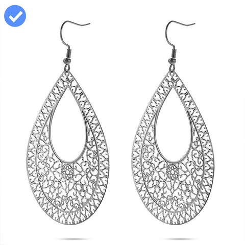 Large Lace Cut Tear Drop Earrings