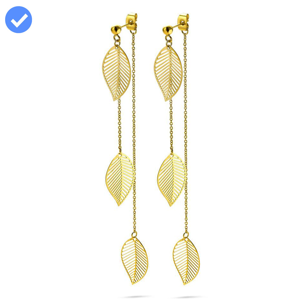 Gold Long Layered Leaf Earrings