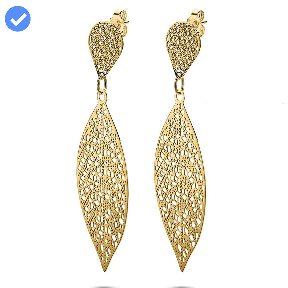 Gold Long Lace Cut Earrings