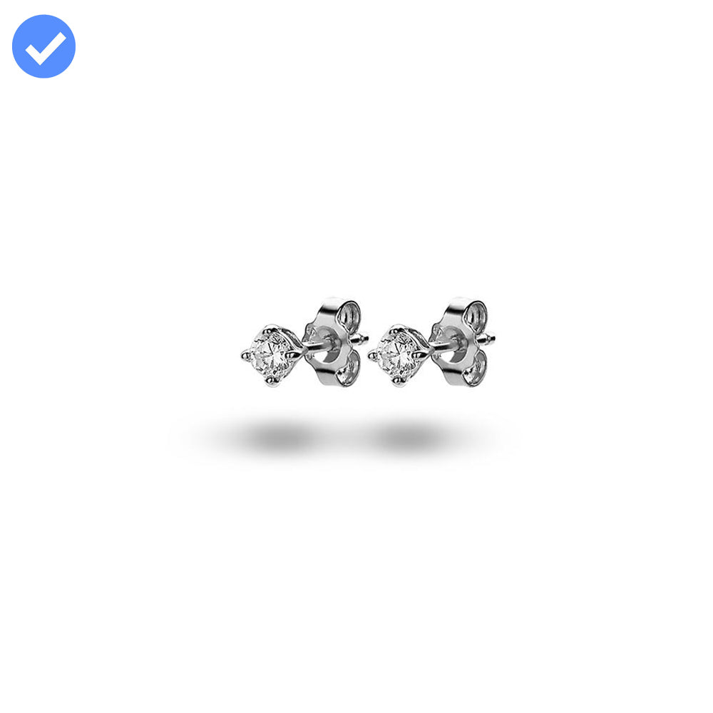 Solitaire Studs (3mm) made with Premium Zirconia