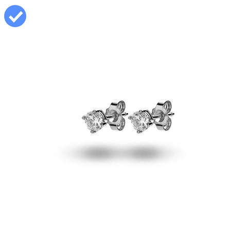 Solitaire Studs (4mm) made with Premium Zirconia