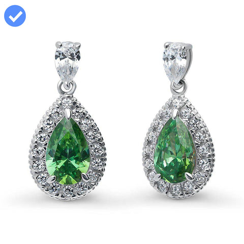 Emerald Pear Halo Earrings made with Swarovski® Zirconia