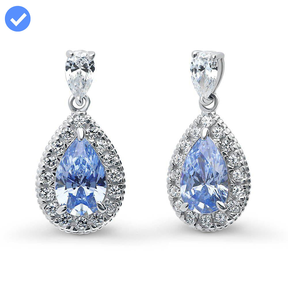Blue Pear Halo Earrings made with Swarovski® Zirconia