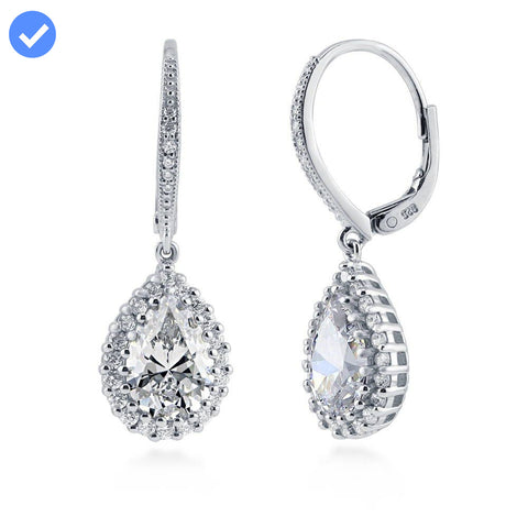 Pear-Shaped Halo Leverback Dangle Earrings made with Premium Zirconia