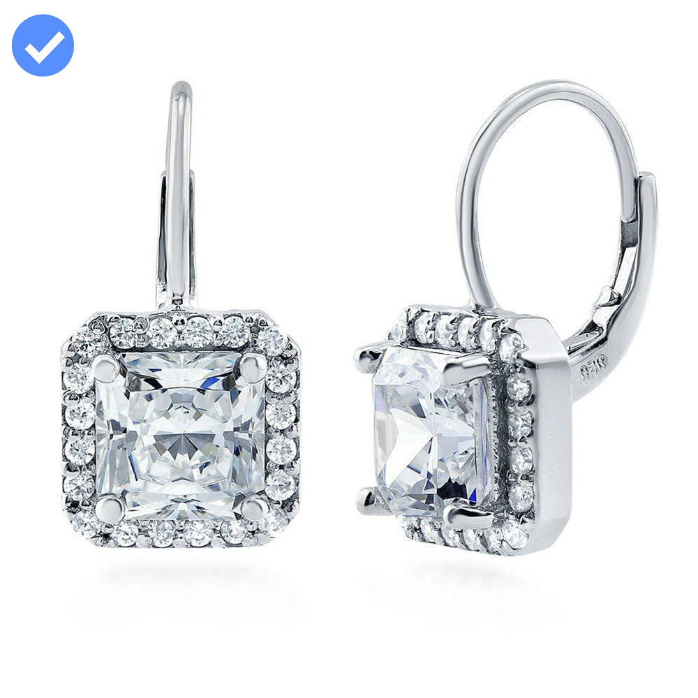 Princess Cut Halo Earrings made with Premium Zirconia