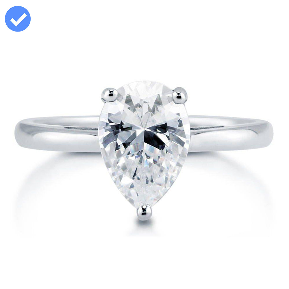 Pear Solitaire Ring made with Premium Zirconia