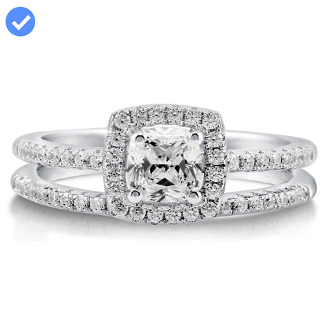 Cushion Halo Ring Set made with Premium Zirconia