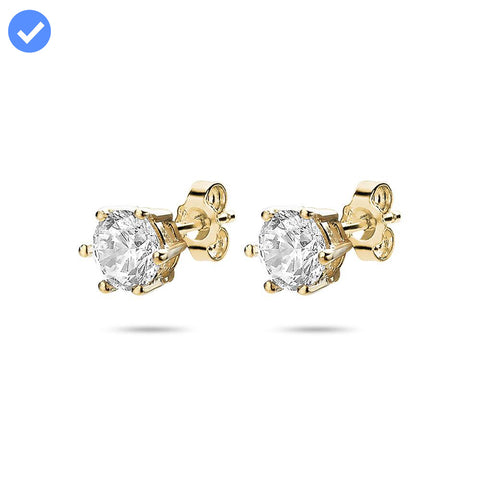 Solitaire Studs (6 claw 5mm) made with Premium Zirconia - Gold