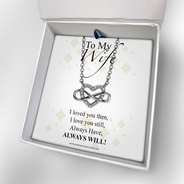 To My Wife Box Heart and Infinity Crystal Necklace