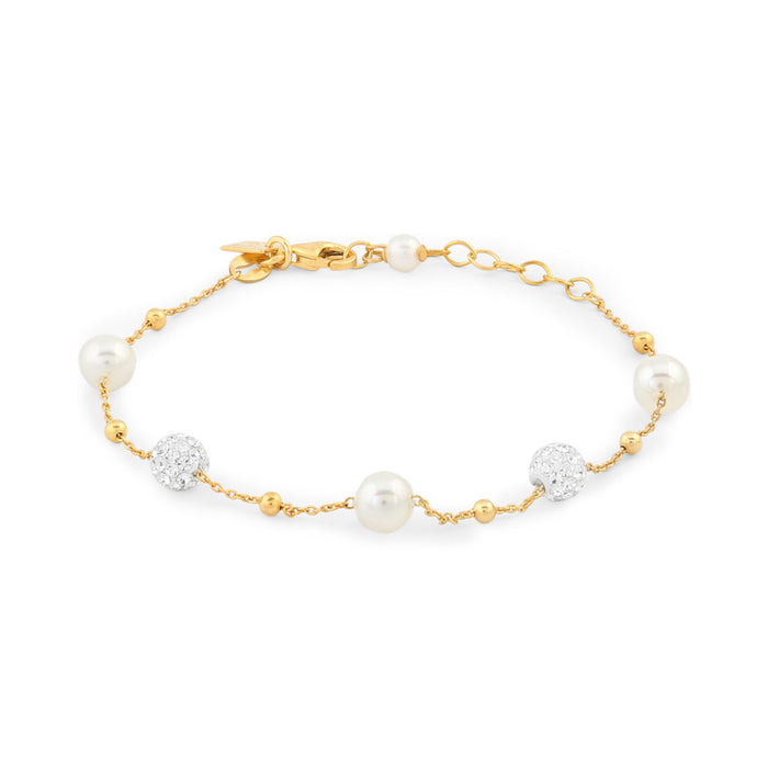 Gold Crystal and Pearl Bracelet