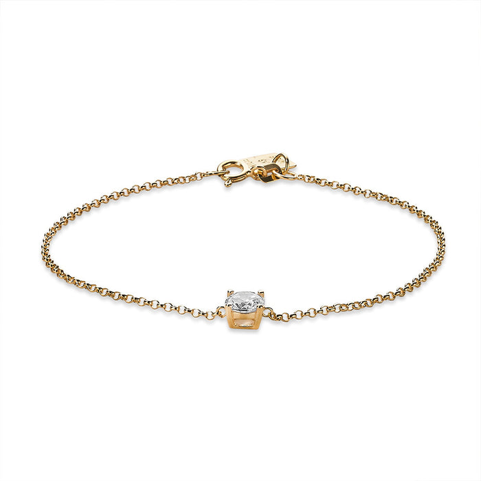 Gold Single Crystal Bracelet