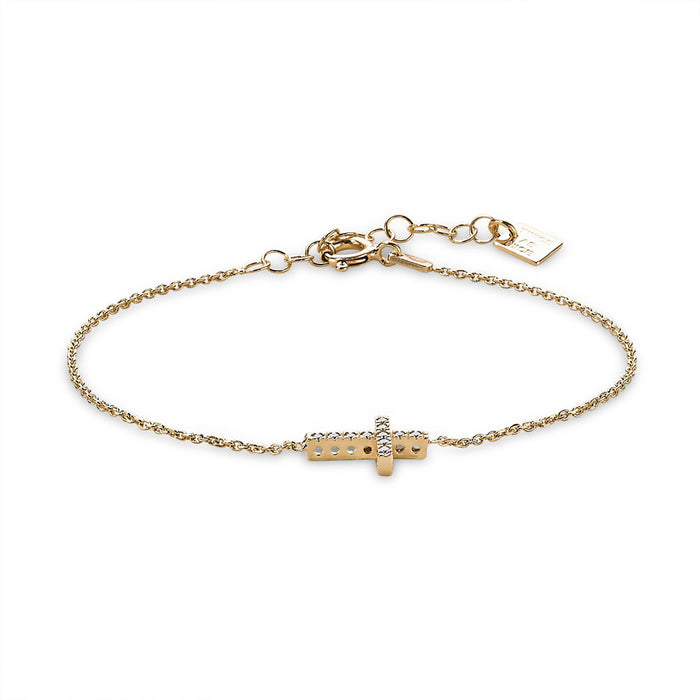 Gold Crystal Cross Bracelet