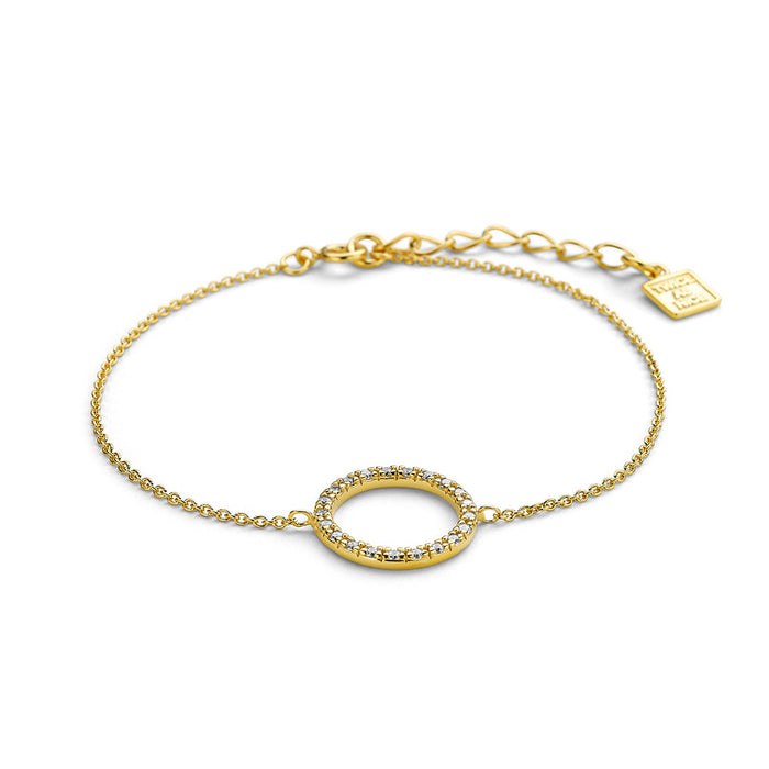 Gold Crystal Open Circle Bracelet made with Premium Zirconia
