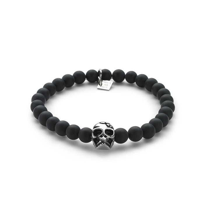 Men's Black Agate Skull Bracelet