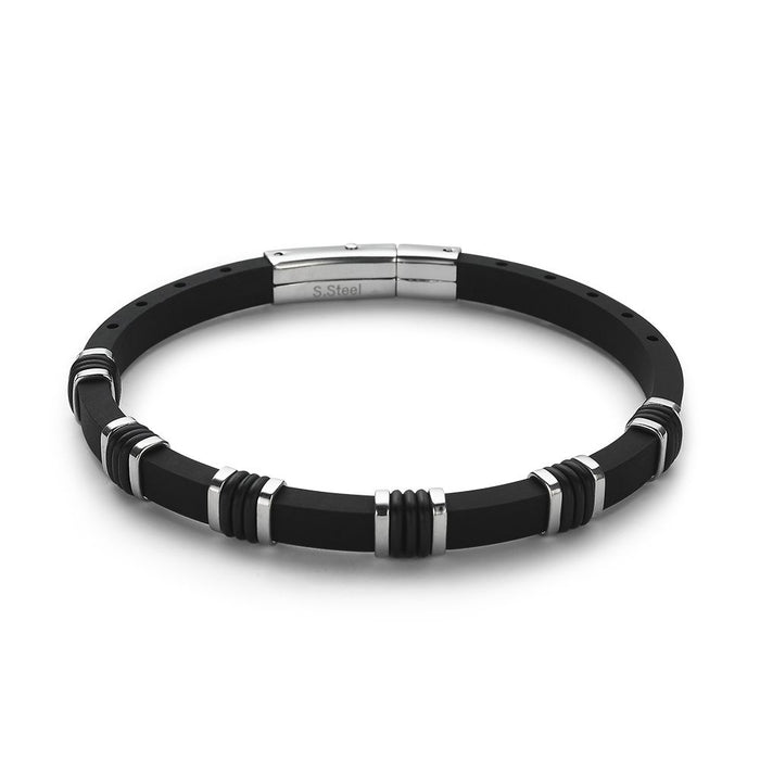 Men's Black Rubber Steel Bracelet