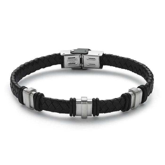 Men's Black Leather Bracelet