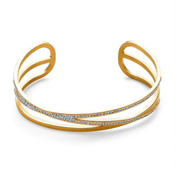 Gold Crystal Open Bangle
