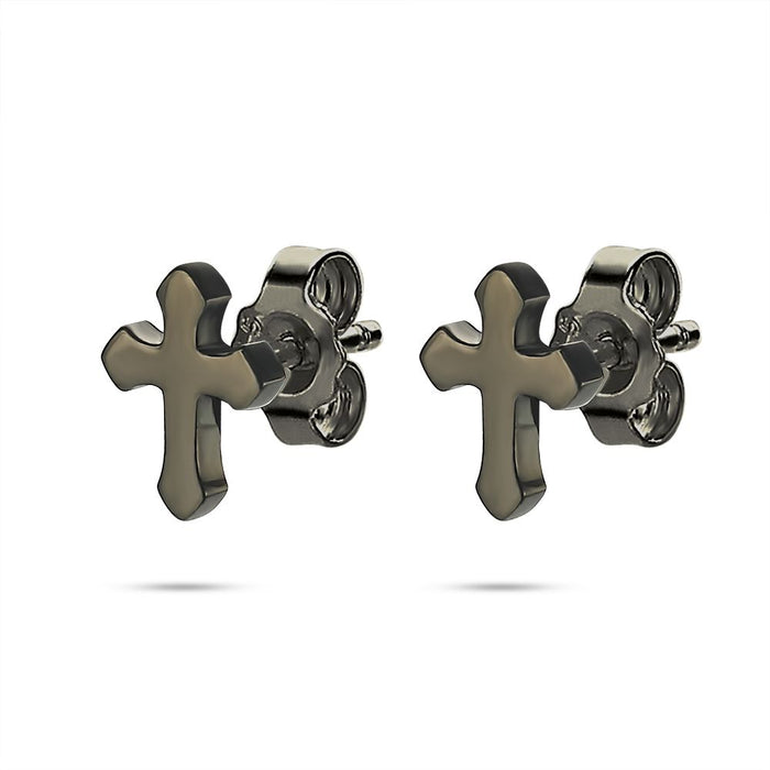 Men's Black Cross Studs