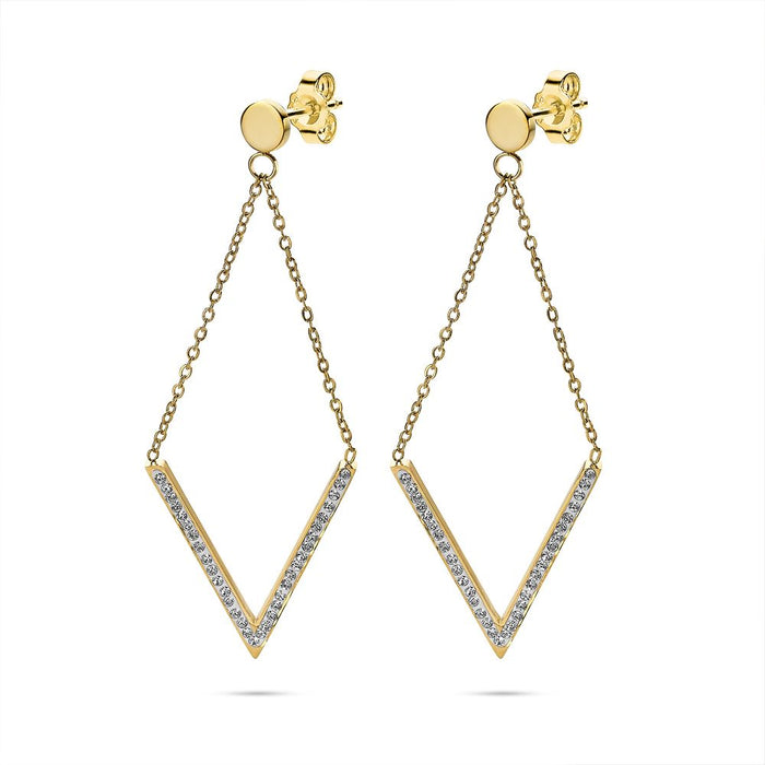Gold Crystal Triangle Earrings