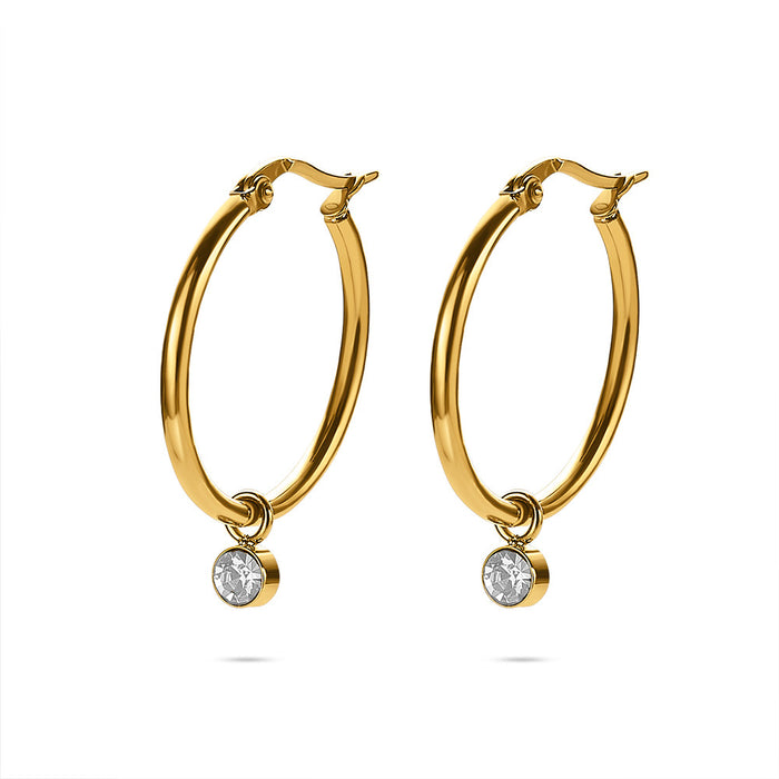 Gold Crystal Drop Hoops