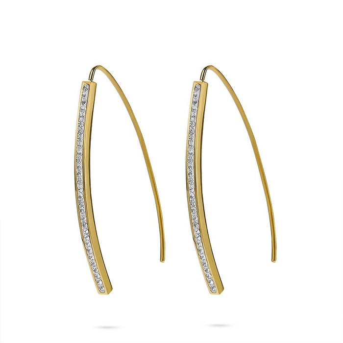 Gold Crystal Bar Earrings