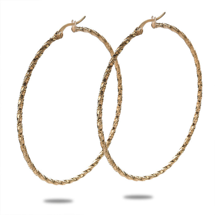 Gold Large Diamond Cut Hoops